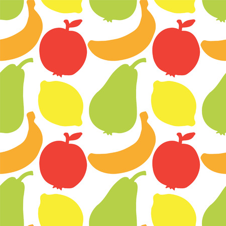 Seamless Pattern with Silhouette Fruits  Apples  Lemons  Bananas  Pears - vector  Illustration