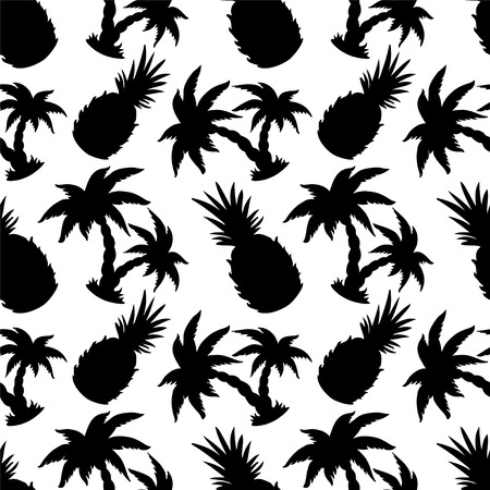 Seamless Pattern with Silhouette Coconut Palm Trees and Pineapples in Black and White - vector Vector