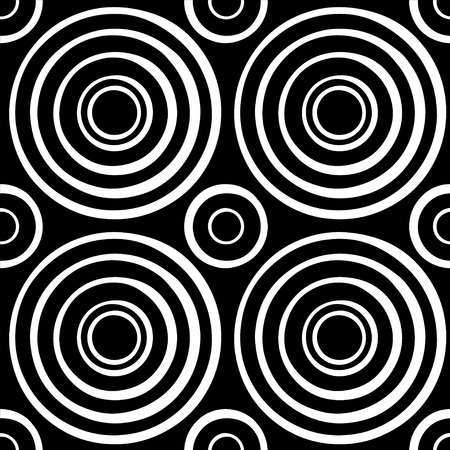 Abstract geometric seamless pattern with circles in black and white - vector  Vector