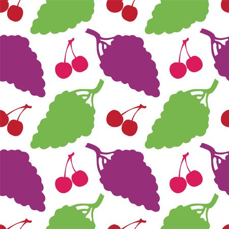 Seamless Pattern with Silhouette Fruits and Berries  Grapes  Cherry - vector  Vector