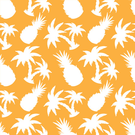 Seamless Pattern with Silhouette Coconut Palm Trees and Pineapples - vector Vector