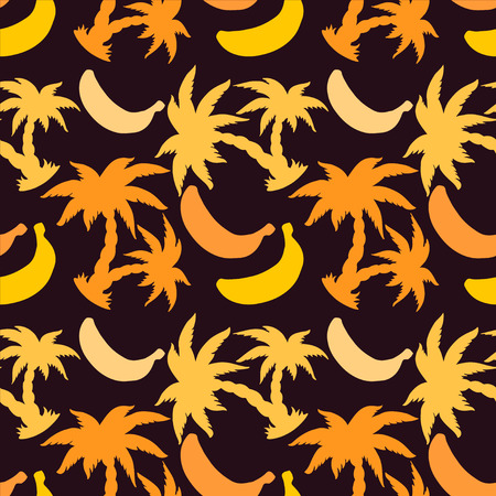 Seamless Pattern with Silhouette Coconut Palm Trees and Bananas - vector Vector