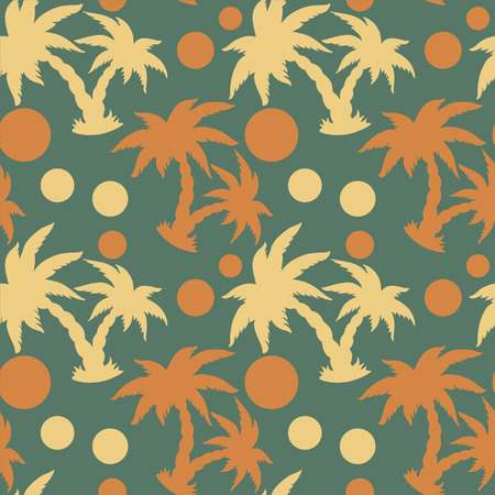 Seamless Pattern with Coconut Palm Trees and Circles  Endless Print Silhouette Texture  Forest  Hand Drawing  Retro  Vintage Style - vector  Vector