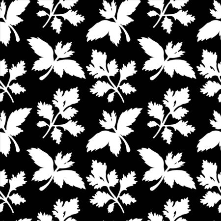 Seamless pattern with silhouettes leafs parsley in black and white - vector