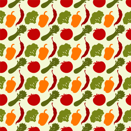 celery: Seamless pattern with silhouettes vegetables  Chili pepper  Bell pepper  Tomato  Broccoli  Celery - vector Illustration