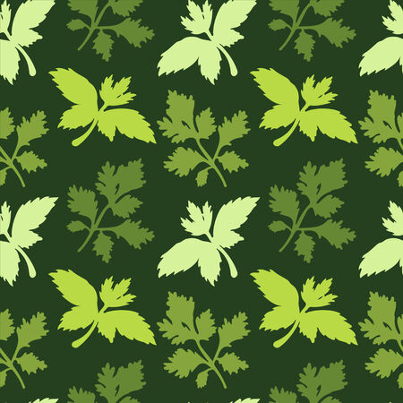 Seamless pattern with silhouettes leafs parsley - vector Vector