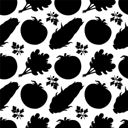 Seamless pattern with silhouettes vegetables  Tomato  Parsley  Salad  Corn in black and white - vector Vector