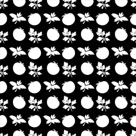 Seamless pattern with silhouettes tomato and parsley in black and white - vector Vector