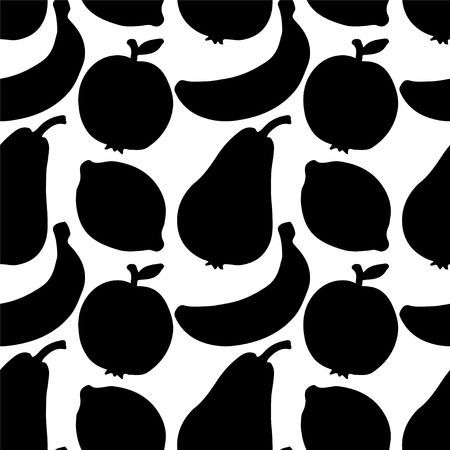 Seamless Pattern with Silhouette Fruits  Apples  Lemons  Bananas  Pears in Black and White - vector  Vector