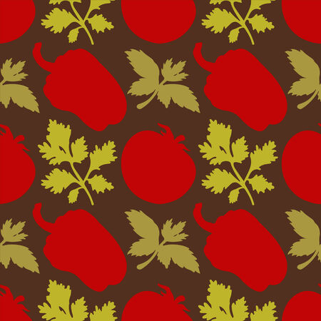 Seamless pattern with silhouettes vegetables  Pepper  Tomato  Parsley - vector  Vector