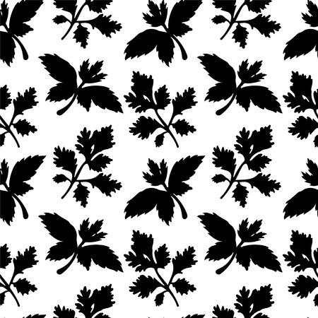 Seamless pattern with silhouettes leafs parsley in black and white - vector Vector