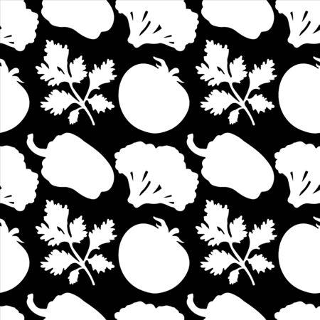 poivre noir: Seamless avec des silhouettes l�gumes Pepper tomates Brocoli Persil en noir et blanc - vecteur