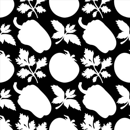 Seamless pattern with silhouettes vegetables  Pepper  Tomato  Parsley in black and white - vector  Vector