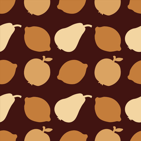 Seamless Pattern with Silhouette Fruits  Apples  Lemons  Pears - vector  Vector