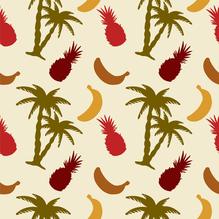 Seamless pattern with silhouettes coconut palm trees, pineapples and bananas - vector  Vector