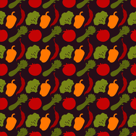Seamless pattern with silhouettes vegetables  Chili pepper  Bell pepper  Tomato  Broccoli  Celery - vector  Vector