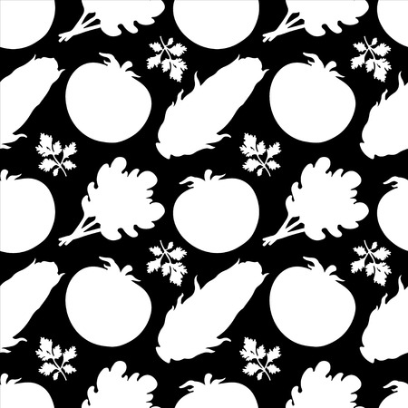 corncob: Seamless pattern with silhouettes vegetables  Tomato  Parsley  Salad  Corn in black and white - vector