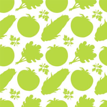 Seamless pattern with silhouettes vegetables  Tomato  Parsley  Salad  Corn - vector  Vector