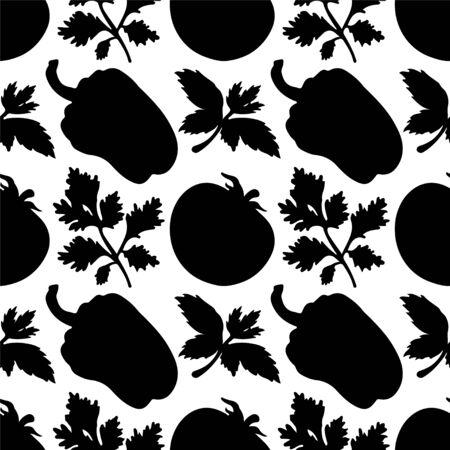 poivre noir: Seamless avec des silhouettes l�gumes Poivre Tomate, Persil, en noir et blanc - vecteur Illustration
