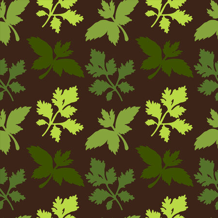 Seamless pattern with silhouettes leafs parsley - vector