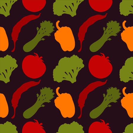 bell pepper: Seamless pattern with silhouettes vegetables  Chili pepper  Bell pepper  Tomato  Broccoli  Celery - vector