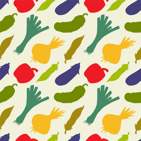 Seamless pattern with silhouettes vegetables  Pepper  Cucumber  Onion  Leek   Pea pod  Eggplant - vector  Vector