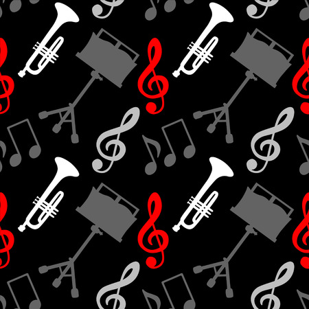 Musical seamless pattern with music notes, treble clef, trumpet, music stand - vector Vector