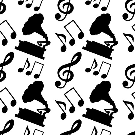 Musical seamless pattern with music notes, treble clef, gramophone in black and white - vector  Vector