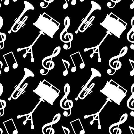 in tune: Musical seamless pattern with music notes, treble clef, trumpet, music stand in black and white - vector Illustration