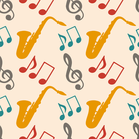 Musical seamless pattern with music notes, treble clef, saxophone - vector  Vector