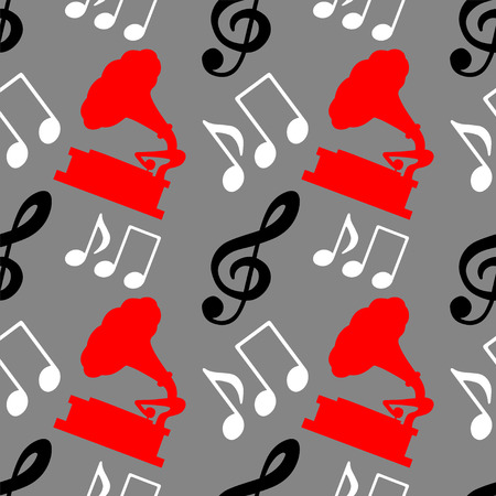 Musical seamless pattern with music notes, treble clef, gramophone - vector  Vector