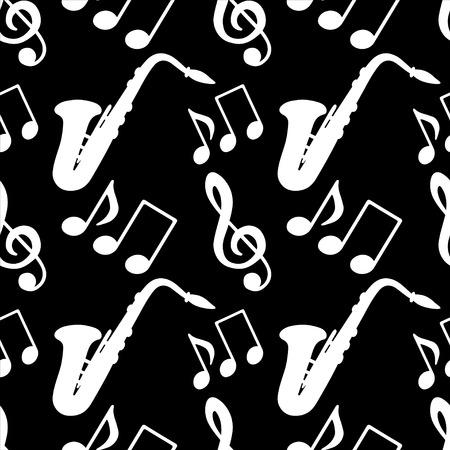 crotchet: Musical seamless pattern with music notes, treble clef, saxophone in black and white - vector