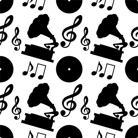 Musical seamless pattern with silhouettes music notes, treble clef, gramophone, vinyl record in black and white - vector  Vector
