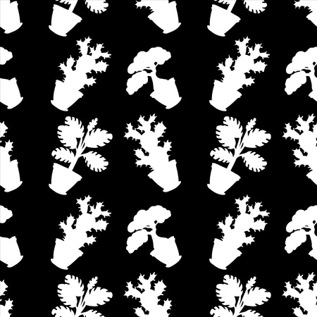 Seamless pattern with silhouettes flowers in pots in black and white - vector  Vector