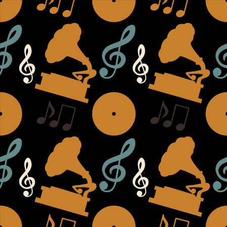 Musical seamless pattern with music notes, treble clef, gramophone, vinyl record - vector  Vector