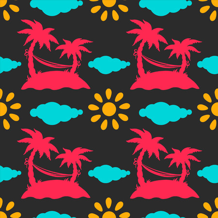 Seamless pattern with silhouettes coconut palm trees  Hammock  Clouds  Sun - vector  Vector