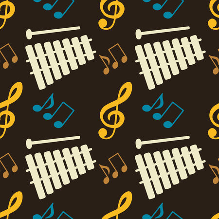 Musical seamless pattern with music notes, treble clef, xylophone - vector  Vector