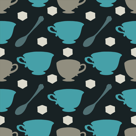 sugar cube: Seamless pattern with tea cups, coffee cups, teaspoon and sugar cube  Endless print silhouette texture  Tea party background  Retro  Vintage style