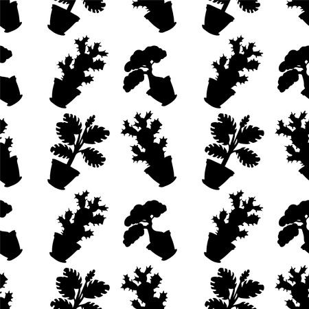 Seamless pattern with silhouettes flowers in pots in black and white  Vector