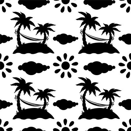 Seamless pattern with silhouettes coconut palm trees  Hammock  Clouds  Sun in black and white - vector  Vector