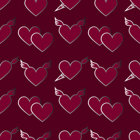 satined: Holiday Valentines day seamless pattern with hearts - vector  Illustration