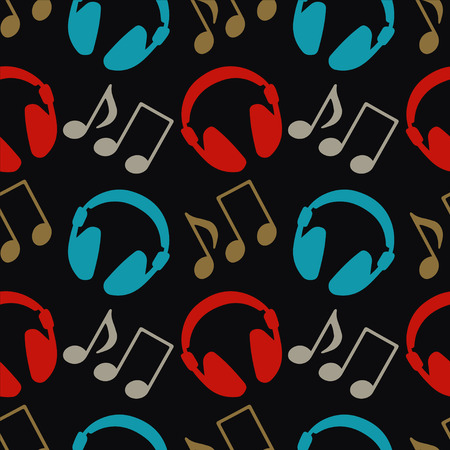 earpieces: Seamless pattern with music notes and headphones  Illustration