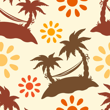 Seamless pattern with silhouettes coconut palm trees. Endless print silhouette texture. Summer. Hammock. Sun. Retro. Vintage style  Vector