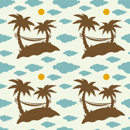 Seamless pattern with silhouettes coconut palm trees. Endless print silhouette texture. Summer. Hammock. Clouds. Sun. Retro. Vintage style  Vector