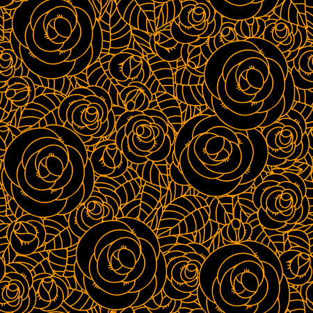 wildrose: Seamless pattern with roses flowers  Endless print silhouette texture  Summer