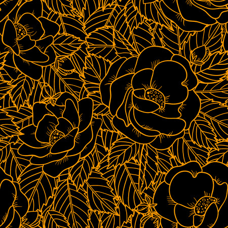 Seamless pattern with roses flowers  Endless print silhouette texture  Summer  Vector