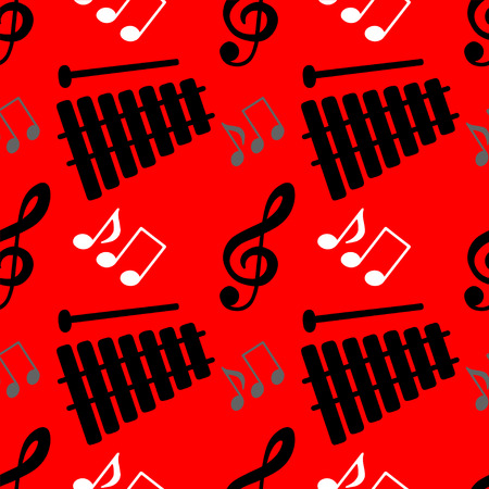 Musical seamless pattern with silhouettes music notes, treble clef, xylophone  Vector
