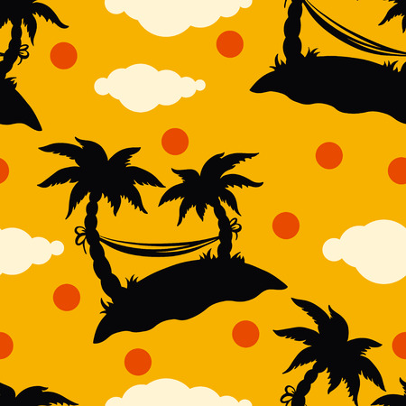 Seamless pattern with silhouettes coconut palm trees  Endless print silhouette texture  Summer  Hammock  Clouds  Sun  Retro  Vintage style - vector  Vector