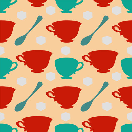 sugar cube: Seamless pattern with tea cups, coffee cups, teaspoon and sugar cube  Endless print silhouette texture  Tea party background  Retro  Vintage style - vector