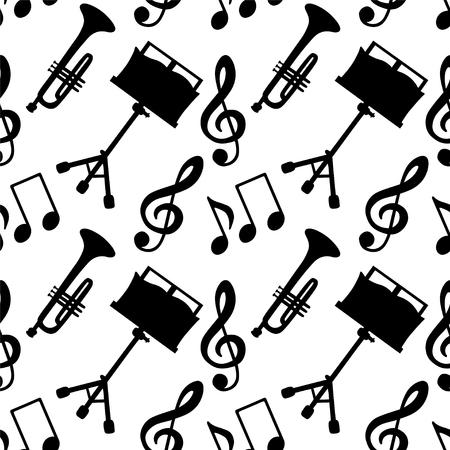 clave de sol: Modelo inconsútil del musical con las notas musicales, clave de sol, trompeta, soporte de música en blanco y negro - vector Vectores
